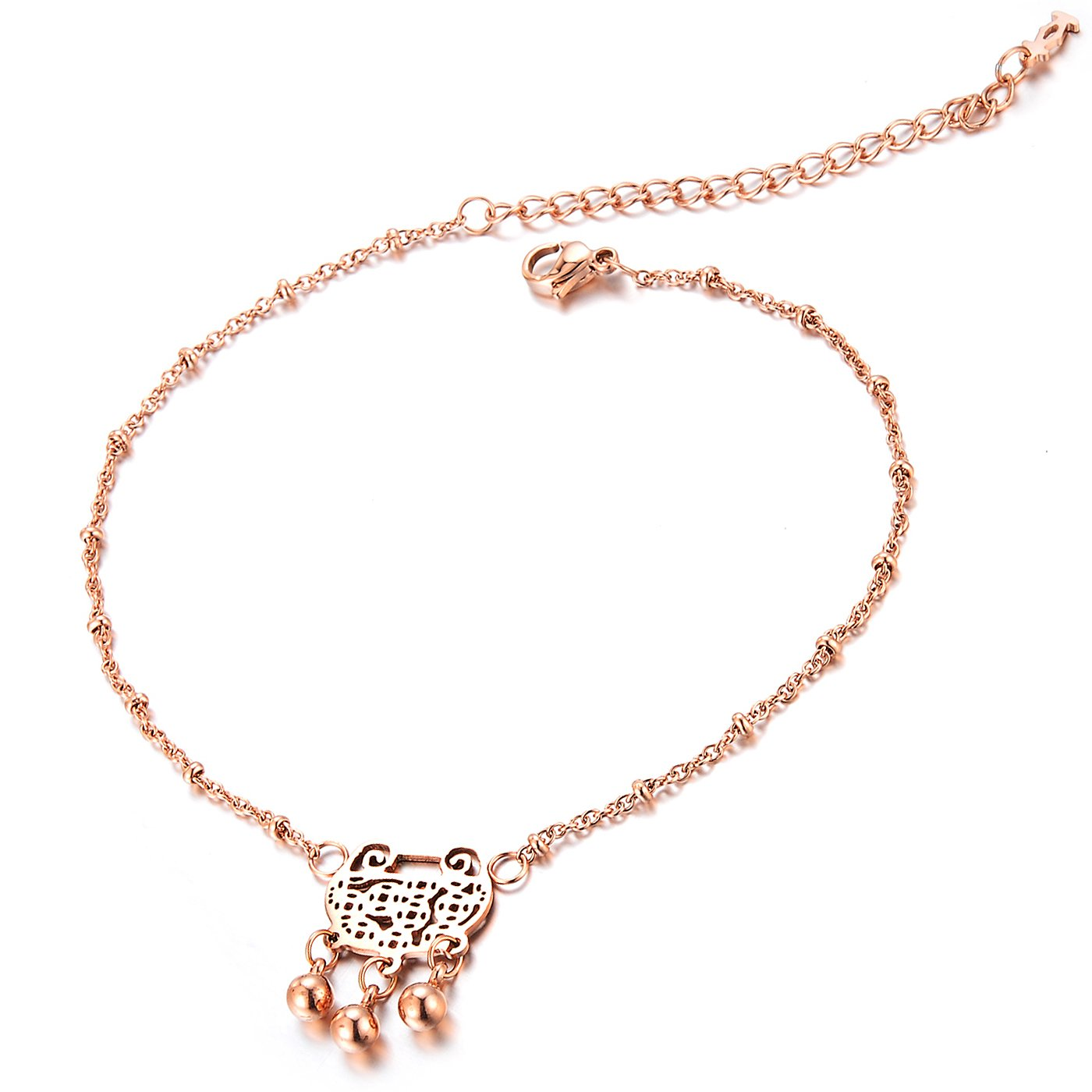 Geminis Fashion Jewelry Wealth Lock Bell Rose Gold Plated Stainless Steel Women's Anklets(With Gift Box)