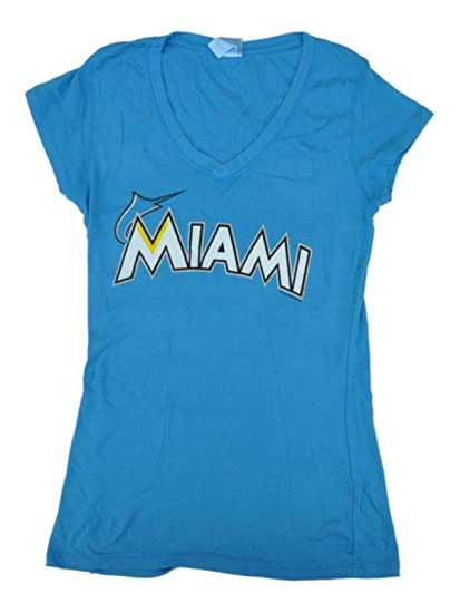 505244f2 Amazon.com : Miami Marlins SAAG Women Turqouise Soft Cotton V-Neck T ...