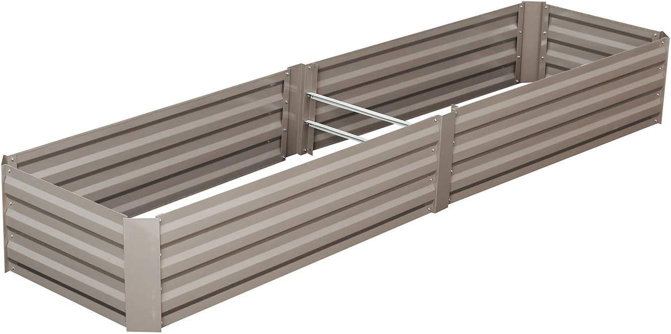 OVASTLKUY Outdoor Metal Raised Garden Bed for Vegetables Planter Box Steel Kit (8ft x 2ft)