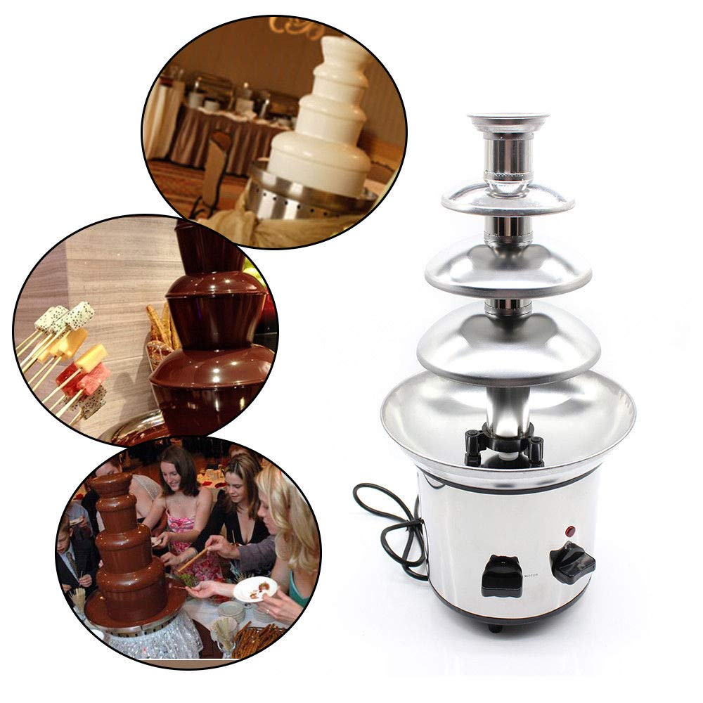 Chocolate Fountain Machine, Commercial 4-Tier Stainless Steel Chocolate Fondue Fountain Waterfall Cheese Melting Machine Kitchen Appliance 1Kg for Party Wedding (USA Stock)