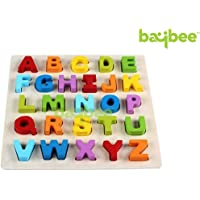 Baybee Alphabet Premium Wooden Puzzle / Educational Toy with Knobs for Children B (Alphabet)