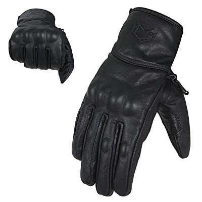 WFX Premium Leather Best Knuckle Protection Motorcycle Gloves Street Bike (Large): Automotive