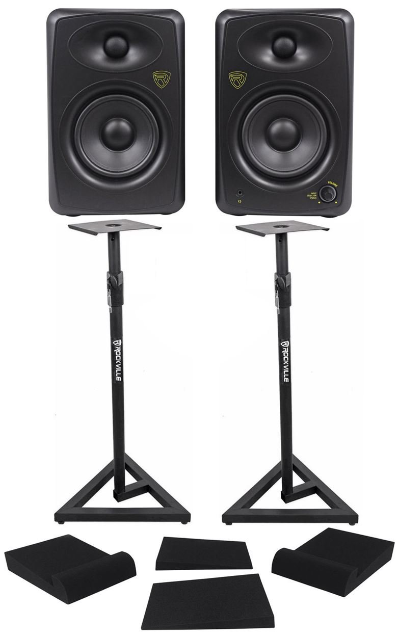 Pair Rockville ASM5 5'' Powered USB Studio Monitors + Stands+Foam Isolation Pads