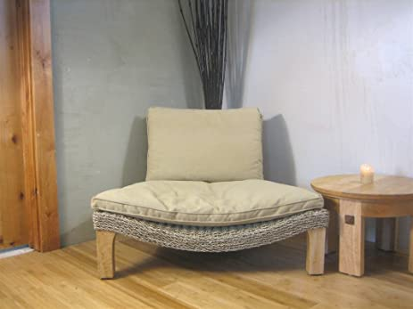 Seagrass Harmony Meditation Chair   Natural With Flax Cushion (Xoticbrands)