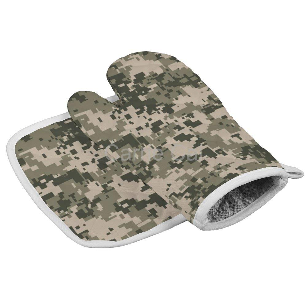 Gray Camo Digital Pixel Camouflage Khaki Army Pattern Camoflauge Oven Gloves Microwave Gloves Barbecue Gloves Kitchen Cooking Bake Heat Resistant Gloves Combination
