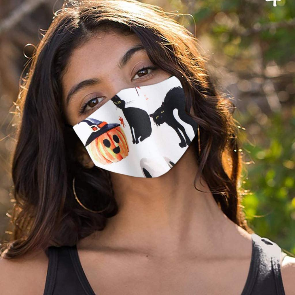 Aberimy 1PC Halloween Funny Printing Cotton Disposable Face Bandanas Cover Cloth Covering Breathable Mouth Protective for Adults Unisex Outdoor Indoors