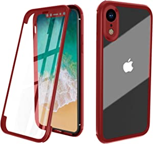ZHIKE iPhone Xs Case, iPhone X Case, Full Body Apple Phone Case Cover Front and Back Tempered Glass Full Screen Coverage One-Piece Design Flip Cover [Support Wireless Charging] (Red)