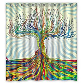 Amazon.com: Abstract Art Trippy Colorful Tree Polyester