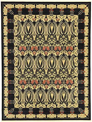 (Unique Loom Edinburgh Collection Oriental Traditional French Country Black Area Rug (9' 0 x 12' 0) )
