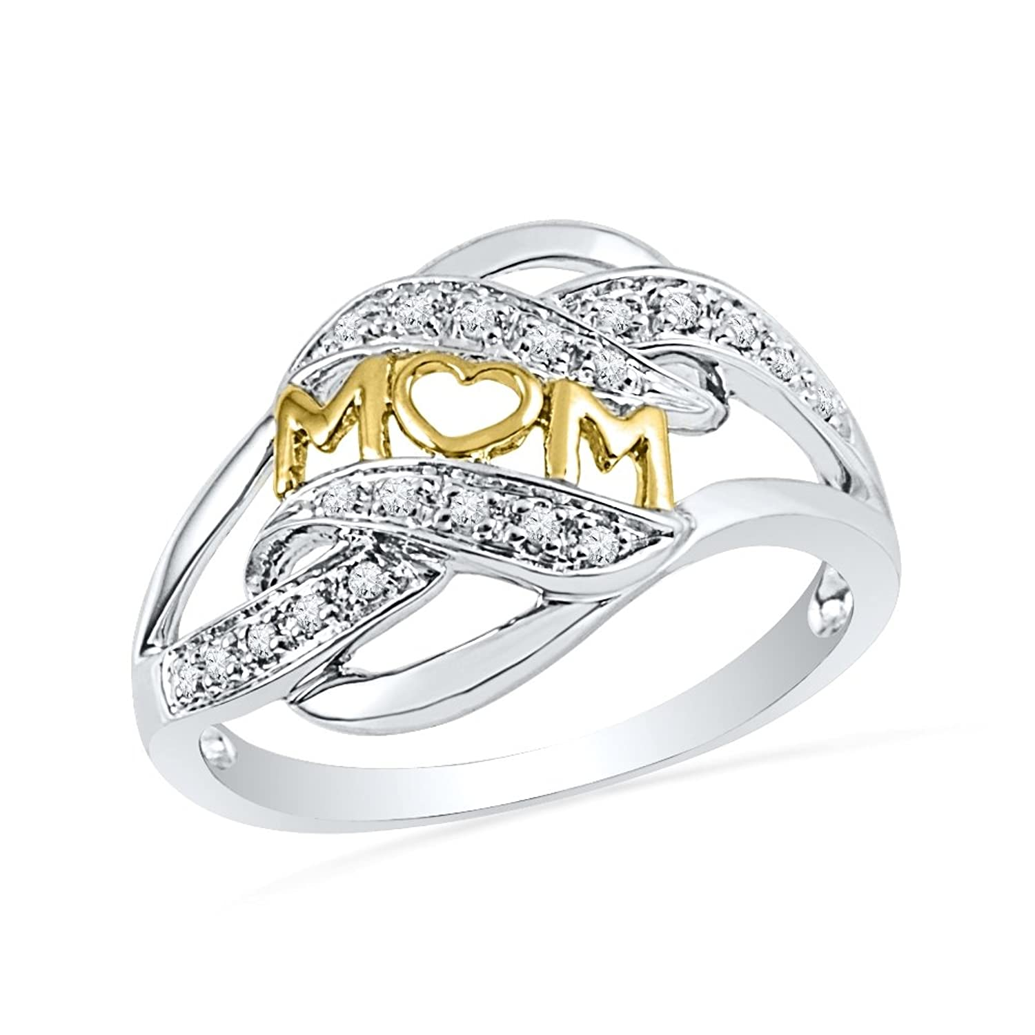 Sterling Silver Round Diamond Yellow Plated Mom Fashion Ring (1/10 Cttw)