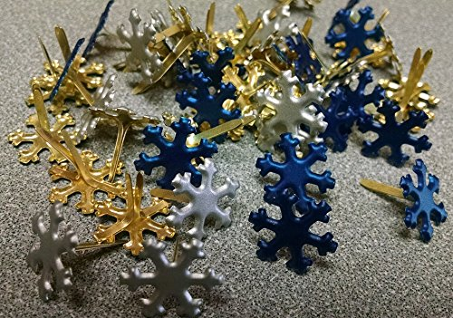Snowflake Brads - Navy & Silver - Bulk 50ct Creative Impressions