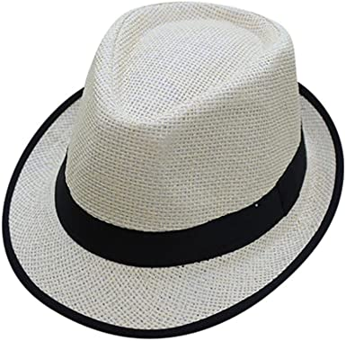 Men Women Beach Summer Hat Jazz Fedora Trilby Style Wide Brim Straw Panama Cap