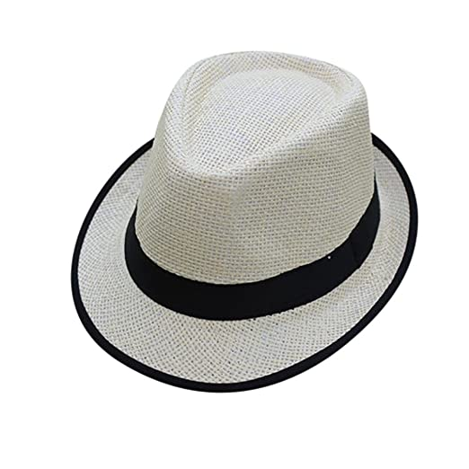 8d757c9908477 Amazon.com: Sunhat, Shybuy, Classic Men Women Beach Straw Hat Jazz Panama  Trilby Fedora Hat Gangster Cap (Black, 56-58cm): Clothing