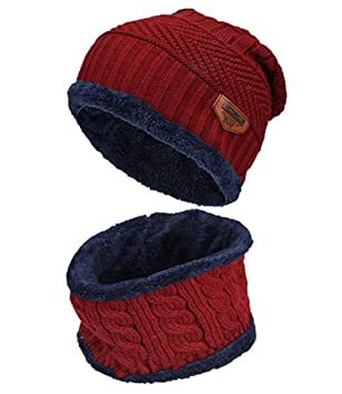 e0a4321d32b Boys Girls Fleece Lined Warm Thick Winter Hat Beanie Hat Cap Scarf Set Neck  Warmer for Winter Ski (Red)