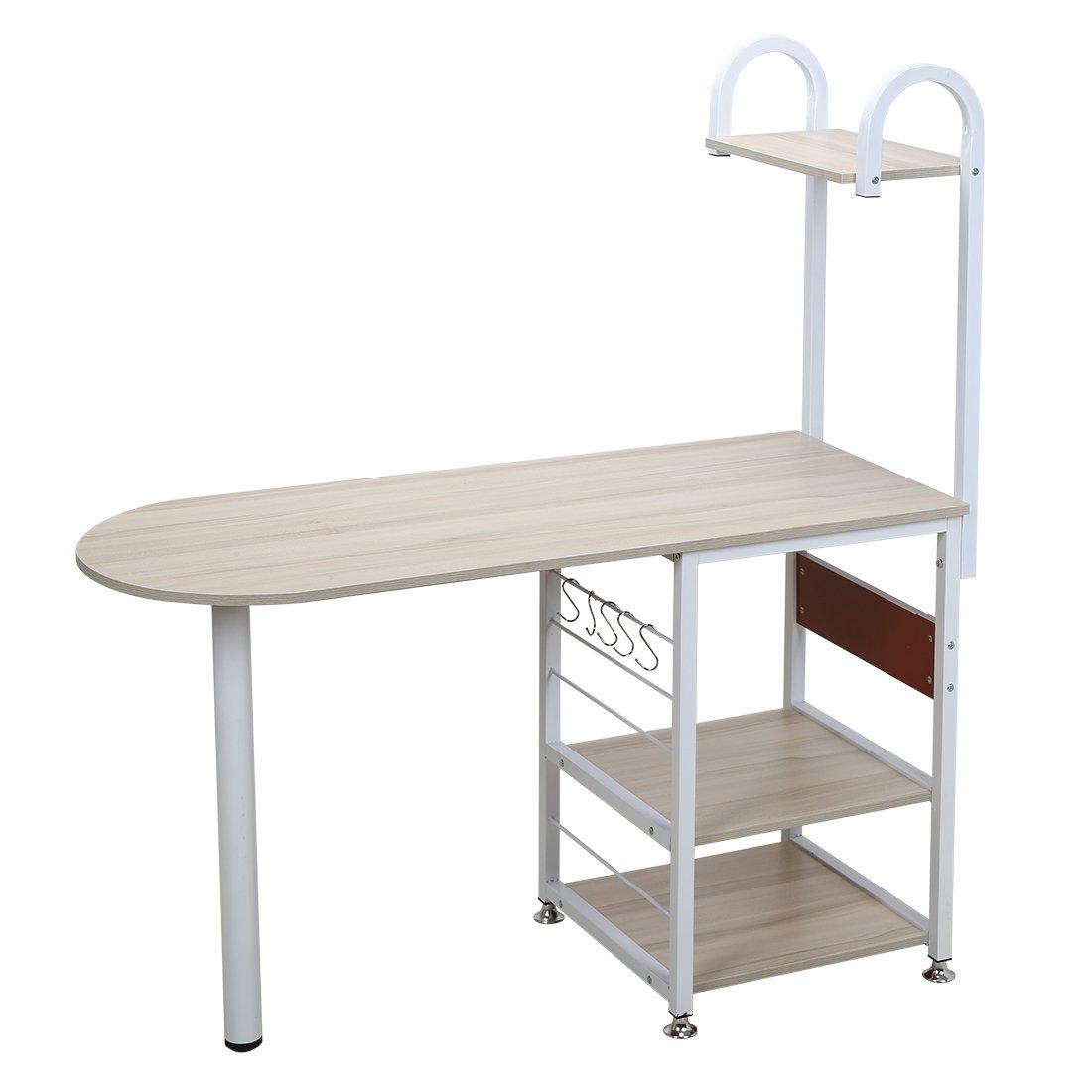 4 Tier Multipurpose Storage Shelf Bakers Rack, Metal Frame and Wooden Worktop for Kitchen by BestValue GO (Image #3)