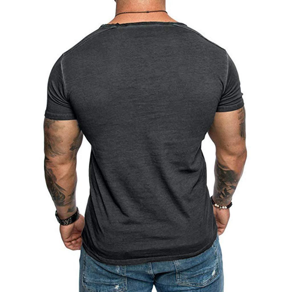 Canotta Uomo Bodybuilding Tank Muscolo Maglietta Estate Fitness Top Camicia da Uomo Elegante Uomo Completi Sportivi BaZhaHei T-Shirt con Tasca Maniche Corte O-Collo Casuale Tee