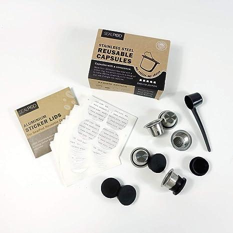 Cápsulas Nespresso Reutilizables - Sellador de acero inoxidable Pods recargables para máquinas Nespresso (compatible con OriginalLine)