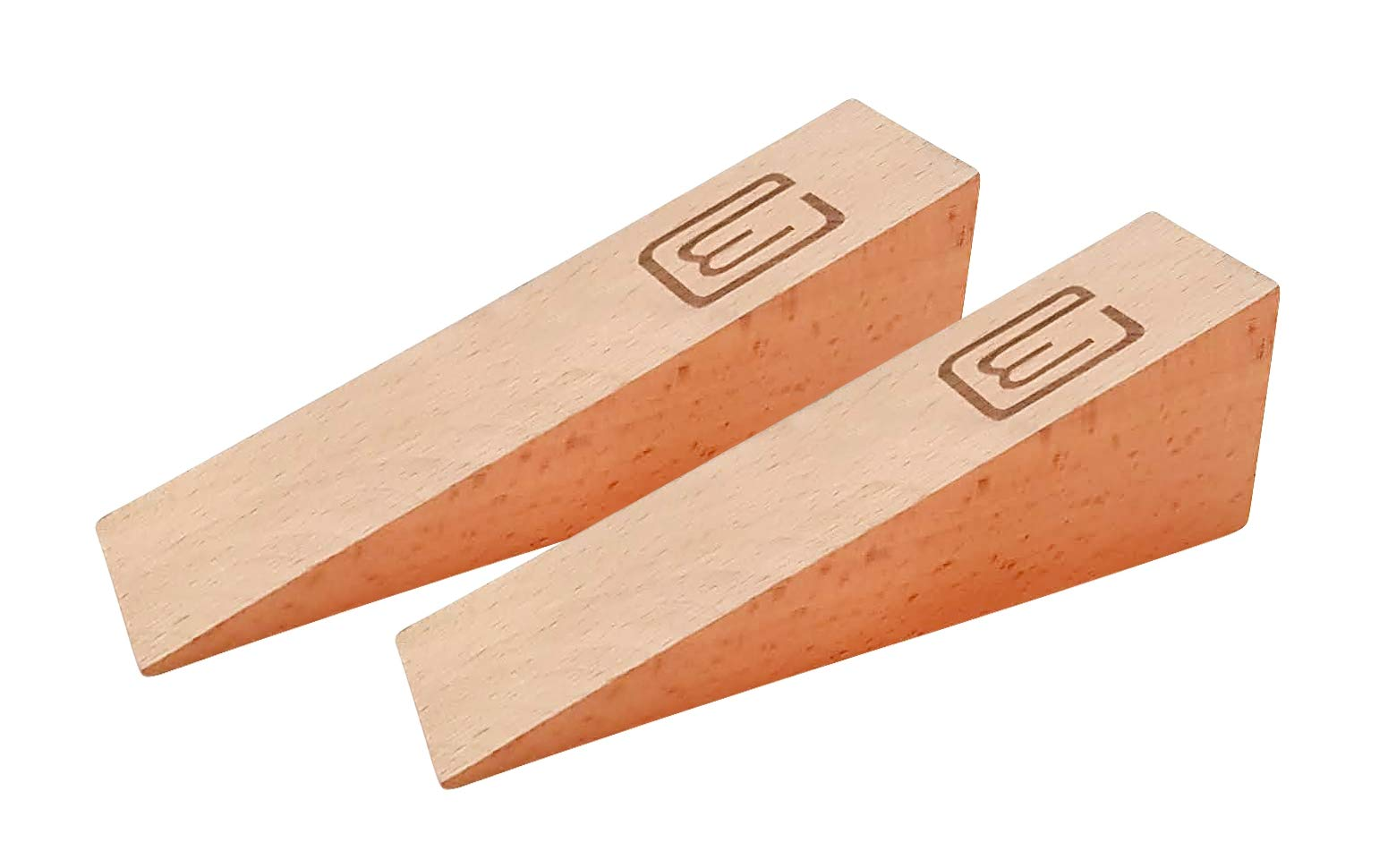 2 Durable Heavy Duty Door Stopper 4.5 Ounces Gaps up to 2 inches, Decorative Large Size Made of planed Finished Beech Wood, Works on All Surfaces Perfectly, Great Tall Door Stop Wedge by WonderThings