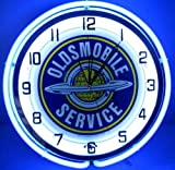 "Oldsmobile Service 18"" Double Light Neon Clock Sign Blue"