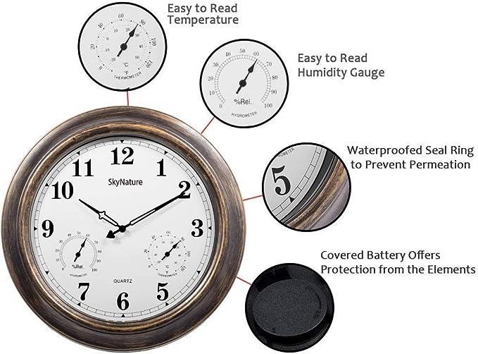 SkyNature Neuf 45,7cm étanche Grande Horloge Murale dextérieur Surveillance météo avec température et humidité BC-UOAQ-DOUJ