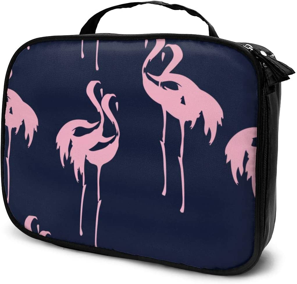 YongColer Pink Flamingos Pattern Storage Bag Holder Portable Gift for Girls Women Large Capacity Cosmetic Train Case for Makeup Brushes Jewelry Casual Tote Bag