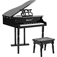 Melodic 30-Key Children Kids Grand Piano Wood Toy w/Bench Music Stand-Black