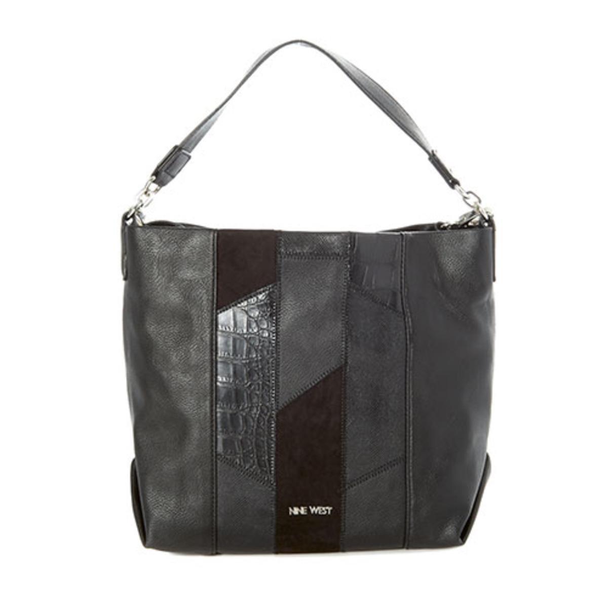 Nine West Womens Medley Up Faux Leather Convertible Hobo Handbag Black Large