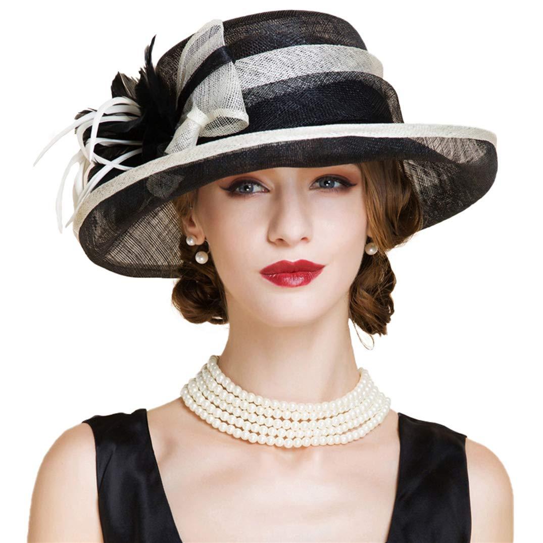 YALOEE Ladies Sinamay Hats Fascinators Elegant Largr Brim Church Pillbox Fedora Derby Hats Black White