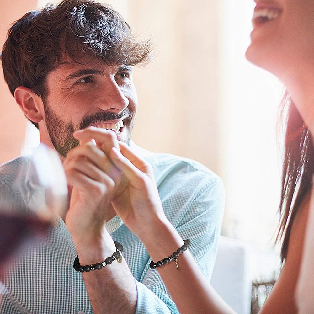 Tacobear Bracelet Couple Bracelet Distance Bracelet Pierre de Lave Bracelet Perle Bijoux Couple St Valentin Cadeau Femme Homme Cadeau anniversaire de mariage