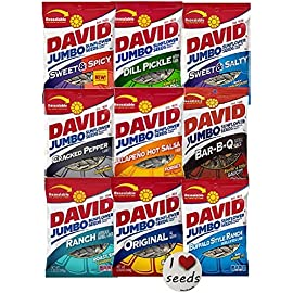David Sunflower Seeds 9 Pack Variety (5.25 Ounce each) Includes Bonus Magnet 7 Every Flavor of David Jumbo Sunflower Seeds are Included in this Variety Pack. Receive 9 bags - 5.25oz each & a Bonus Magnet Flavors Included in the Va