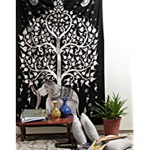 Elephant Tree Tapestry, White Black Ethnic Wall Decal Indian Handmade Designer, Decorative Wall Hanging, Picnic Beach Sheet