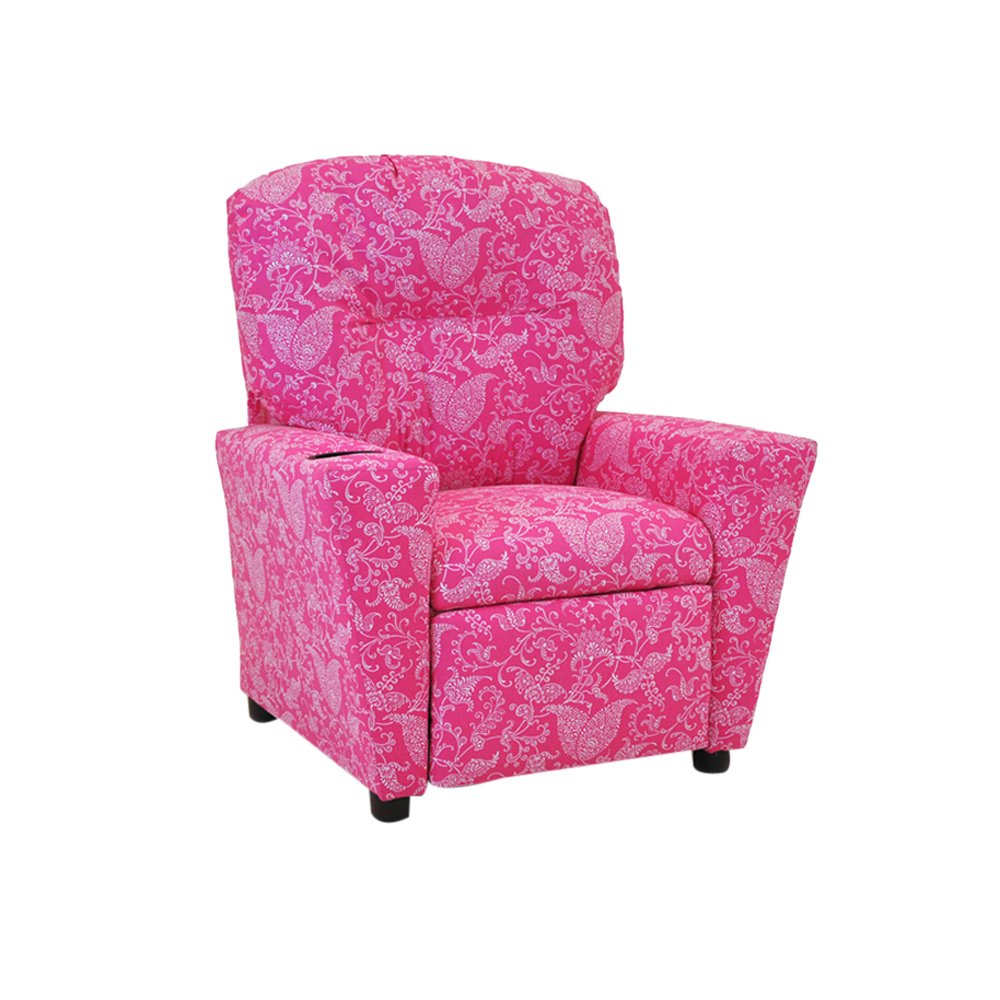Kidz World 1300-1-SPCP Small Paisley Candy Pink Kids Recliner