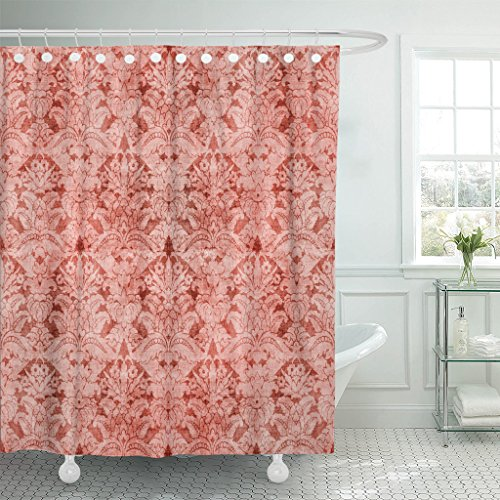 Baroque Peach - Emvency Shower Curtain Orange Antique Damask Pink Baroque Beautiful Waterproof Polyester Fabric 72 x 72 inches Set with Hooks