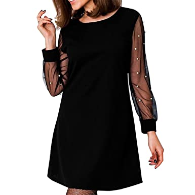 Womens Dresses,Moonuy Girl Long Sleeve Beading Mesh Perspective Mini Evening Party Dress Clubwear Elegant
