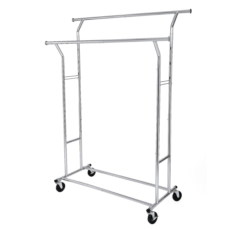 SONGMICS Schwerlast Metall Kleiderständer bis 110 kg belastbar auf Rädern, Länge: 129-169 cm, Chrom HSR12S Länge: 129-169 cm