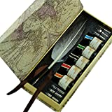 GC Writing Quill Natural Gray Antique Turkey Feather Dip Pen Set PA-523