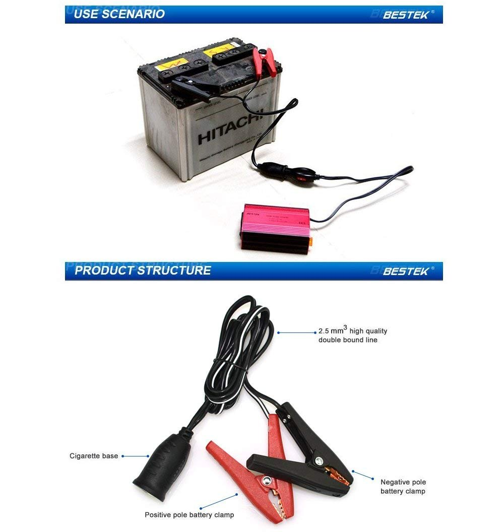 Inverter di Potenza con 1 Presa AC 2 Porte USB Trasformatore Auto 12v 220v per iPhone iPad Tablet BESTEK 300W Inverter per Auto 12V a 220V-240V per Camper//Barca//Camion