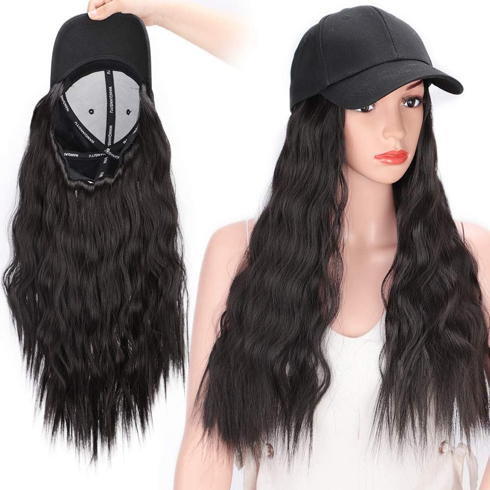 Stamped Glorious Baseball Cap with Hair Classic Polo Style Baseball Cap with Hair Extensions Removeable All Cotton Made Hat Adjustable Fits Women
