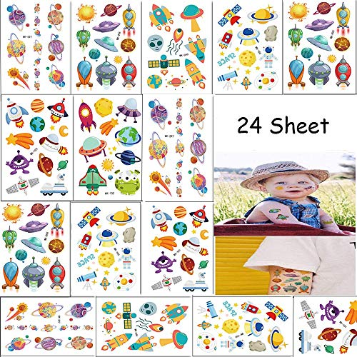 260PCS Outer Spaceship Party Favors Temporary Tattoos for Boys and Girls - Astronaut Planets Baby Shower/Party Supplies Decorations Kids Birthday Party (24 Sheets)]()