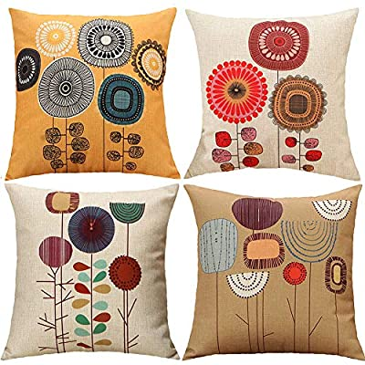 TongXi Cartoon Flowers Pattern Cushion Covers Decorative Throw Pillows for Sofa 18x18 inches Pack of 4 - Size:18x18 inches/ 45cmx45cm(1-2cm deviation). Pattern:Cartoon flowers,The background is the original color of cotton linen,NOT WHITE Material:secure and durable cotton linen,HD digital printing - Good color effect ,solid ink, won't fade after wash - living-room-soft-furnishings, living-room, decorative-pillows - 61LCDJ%2BpFdL. SS400  -
