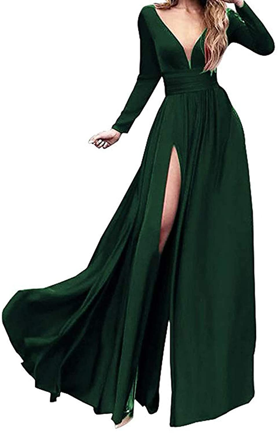 Dark Green Ri Yun Women's Double VNeck Long Sleeve Prom Dresses Long 2019 Side Slit Formal Evening Ball Gowns