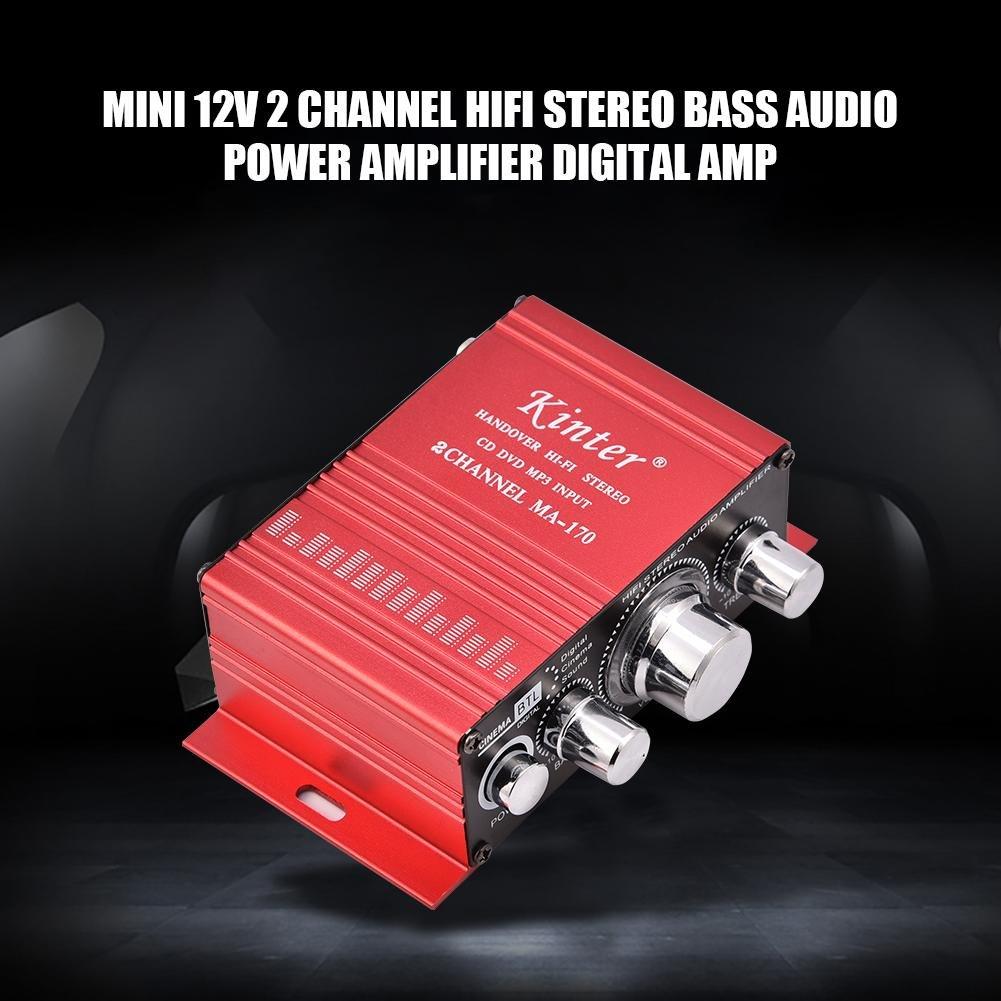 Zerone Mini Amplificador de Potencia de Audio estéreo bajo estéreo de 12V 2 Canales 20W + 20W de Amplificador de Interior/Exterior Digital de Digitaces para ...