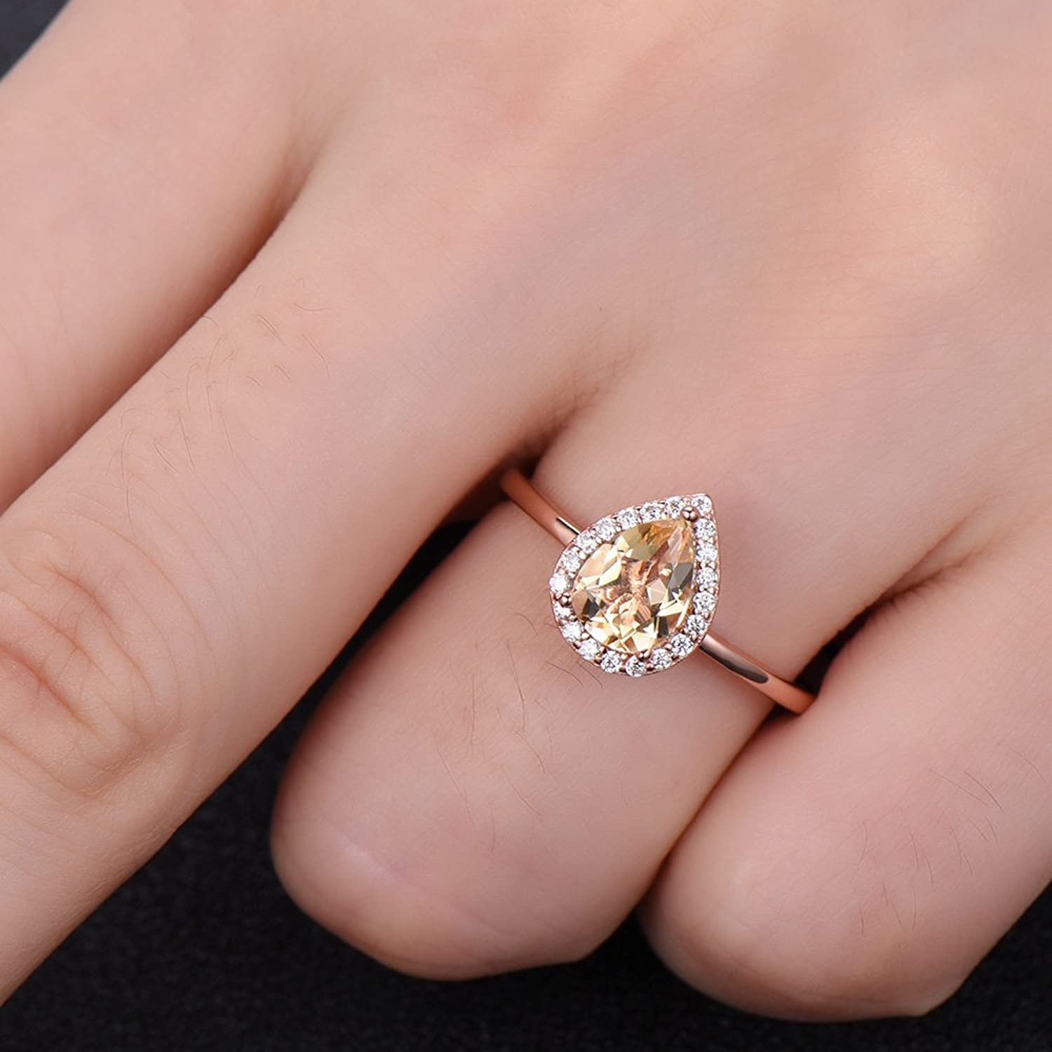 Amazon.com: Pear Shaped Yellow Citrine Engagement Ring Rose Gold 925 ...
