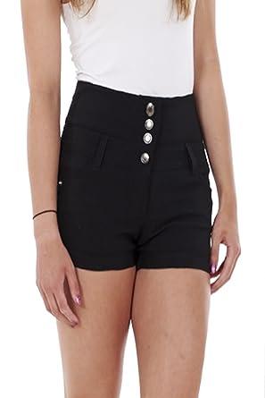 7ed34dbac Ladies Girls High Waisted Hotpants Jean Style Shorts Black / White Size  uk6-uk14 (