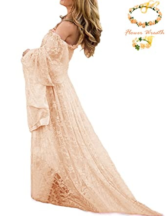 305794960ad0 Maternity Photography Props Pregnancy Fancy Dress Lace See-through Robe  Strapless Maxi Gown Maternity Dress Split Front Women Long Dress (Apricot)  at Amazon ...