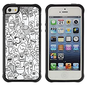 WAWU Funda Carcasa Bumper con Absorci??e Impactos y Anti-Ara??s Espalda Slim Rugged Armor -- happy cartoon animals creatures monsters -- Apple Iphone 5 / 5S
