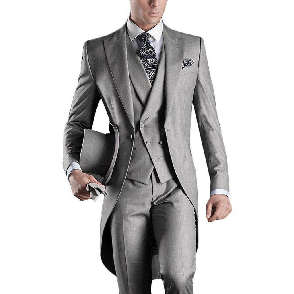 1900s Edwardian Men's Suits and Coats GEORGE BRIDE Premium Mens Tail Tuxedo 3pc Tailcoat suit in Gray Suit Jacket Vest Suit Pants $79.00 AT vintagedancer.com