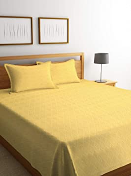 NEUDIS Jacquard Cotton Double Bed Cover with 2 Pillow Cover - Yellow
