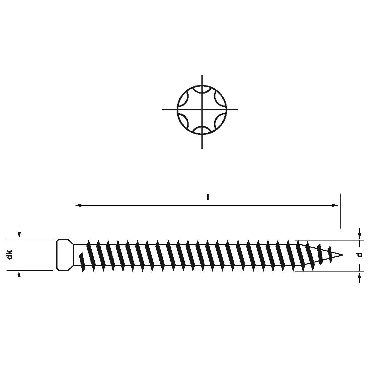 Fensterrahmenschrauben m kleinem Kopf 7.5 mm I Stern I25 /· 112 132 152 182 mm L/änge // Menge:7.5 x 182 mm 100 St.