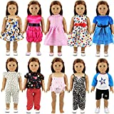 Barwa 10 Set 18 Inch Doll Clothes 5 Set Outfit Clothes and 5 Set Dress for Different Occasions for 18 Inch American Girl